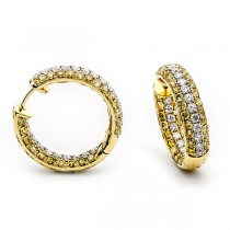 18K Yellow Gold Yellow Diamond Hoops