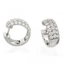 18K White Gold Diamond Huggies