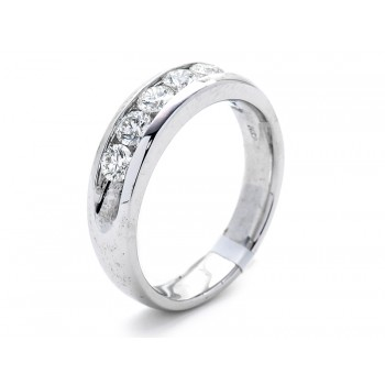 18K White Gold Diamond Men's Band