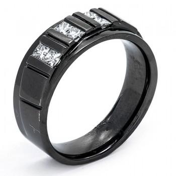 14K Black Rhodium Diamond Men's Band