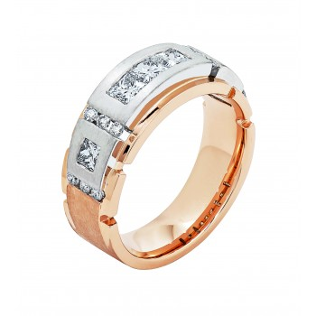 14K Two-tone Gold Diamond Men's Band