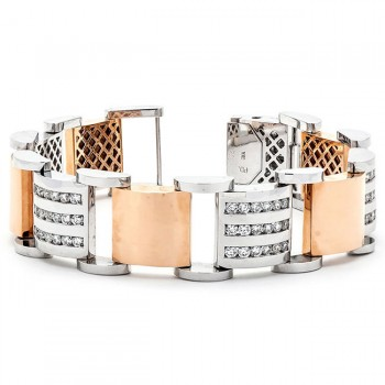 18K Two-tone Gold Diamond Men's Bracelet
