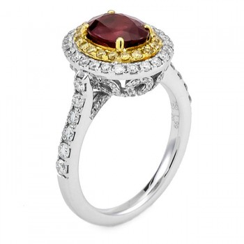 18K Two-tone Ruby Band