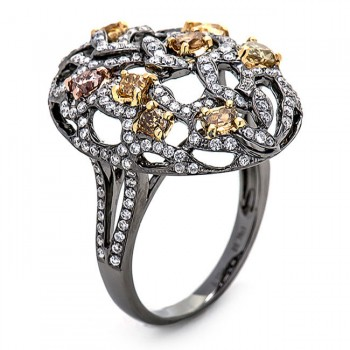 18K Black Rhodium Yellow Diamond Band