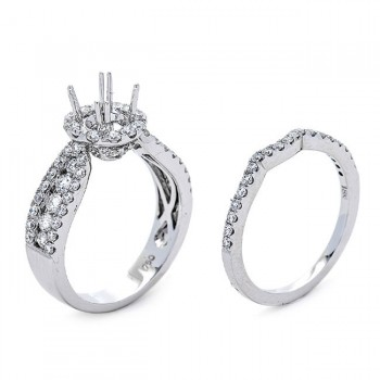 18K White Gold Semi-Mount Set for a 0.6ct Round Center