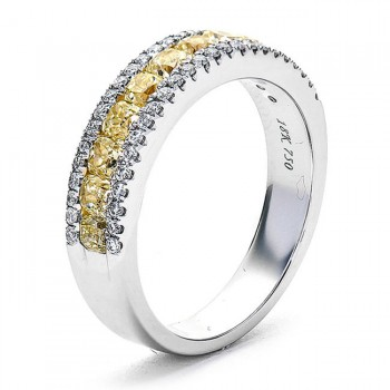 18K White Gold Yellow Diamond Band