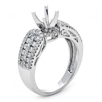18K White Gold Semi-Mount for a 0.63ct Round Center