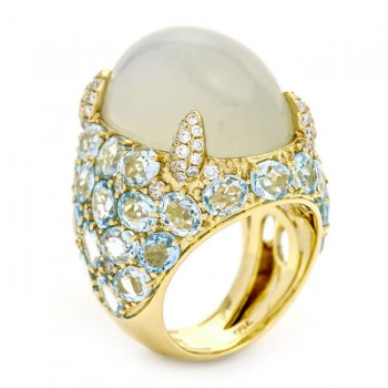 18K Yellow Gold Light Grey Moonstone and Blue Topaz Ring