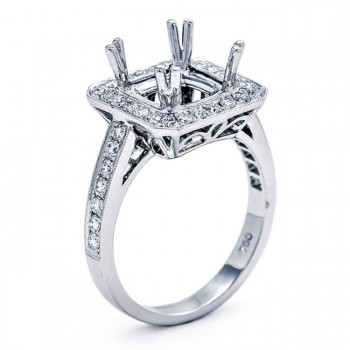 18K White Gold Semi-Mount for a 8x8mm Princess Cut Center