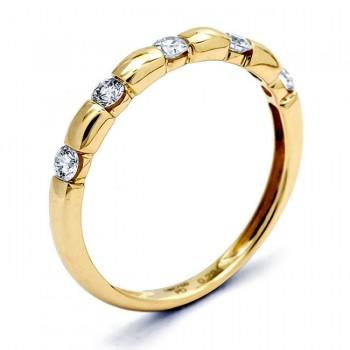 18K Yellow Gold White Diamond Band