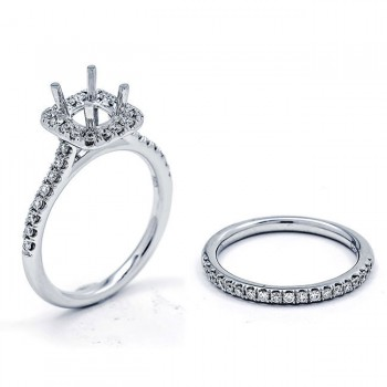 18K White Gold Semi-Mount Set for a 5.5x5mm Round Center