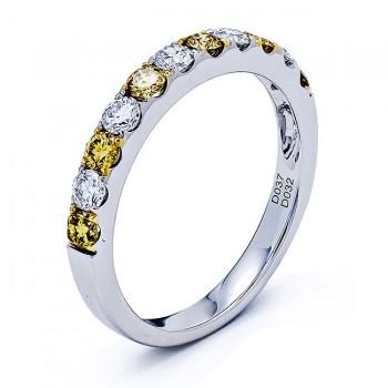 18K White Gold Yellow Diamond Band