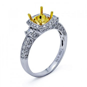 18K Two-tone Gold Semi-Mount for a 1.00ct Round Center