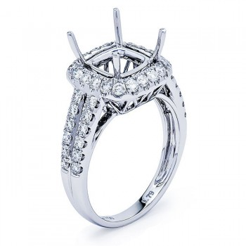 18K White Gold Semi-Mount for a 7.5mm Cushion Center