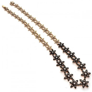18K Rose Gold Black Diamond Necklace