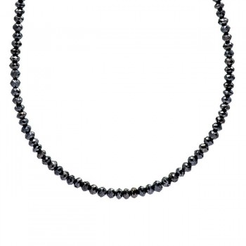 18K Black Rhodium Black Diamond Bead Necklace