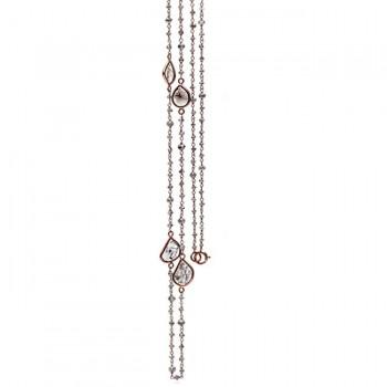 18K Rose Gold Fancy Flat Diamond Slice Necklace