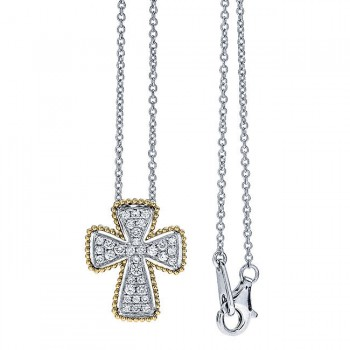 18K Two-Tone Gold Diamond Cross Necklace