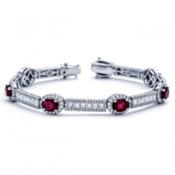 18K White Gold Ruby Bracelet
