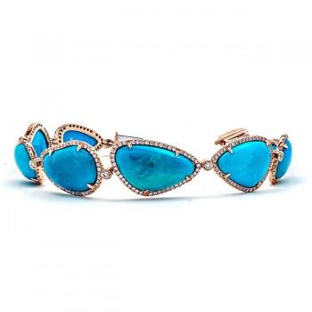 18K Rose Gold Turquoise Bracelet