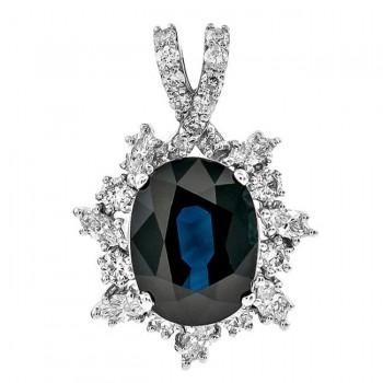 18K White Gold Black Sapphire Pendant