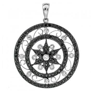 18K White Gold Black Diamond Pendant