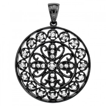 18K Black Rhodium Diamond Pendant