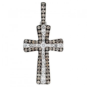 18K White Gold Brown Diamond Cross Pendant