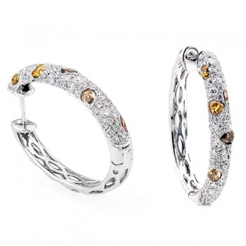 18K White Gold Fancy Diamond Hoops