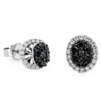 18K White Gold Black Diamond Studs
