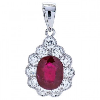 18K White Gold Ruby Pendant