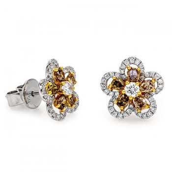18K Two-tone Gold Fancy Diamond Studs