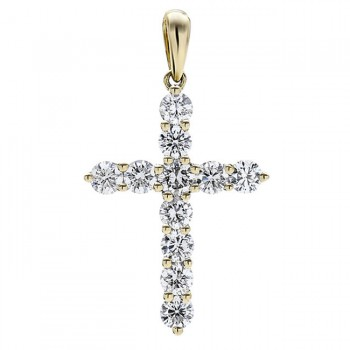 18K Yellow Gold White Diamond Cross Pendant