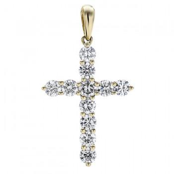 18K Yellow Gold White Diamond Cross Pendant