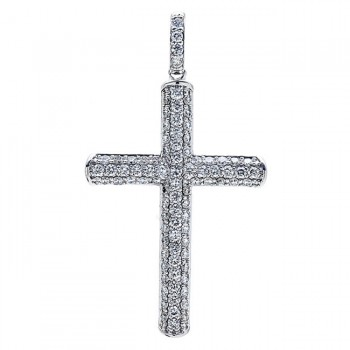 18K White Gold Diamond Cross Pendant