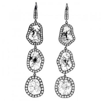 18K Black Rhodium Long Fancy Diamond Slice Earrings