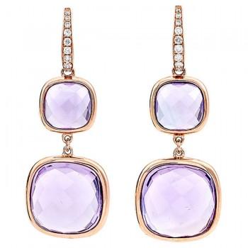 18K Rose Gold Amethyst Earrings