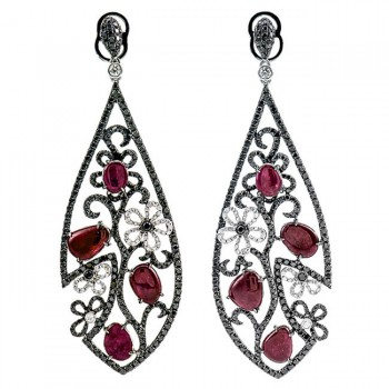 18K White Gold Ruby Earrings