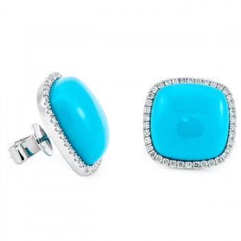 18K White Gold Turquoise Studs
