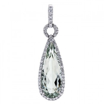 18K White Gold Green Quartz Pendant