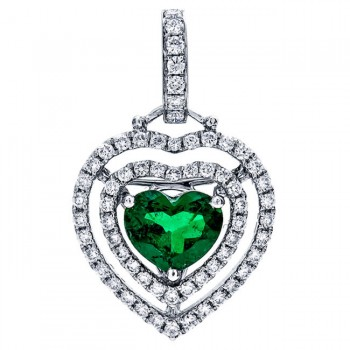 18K White Gold Emerald Heart Pendant