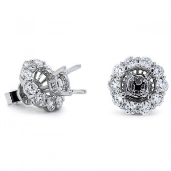 18K White Gold Semi-Mount for 0.75ct Round Center Studs