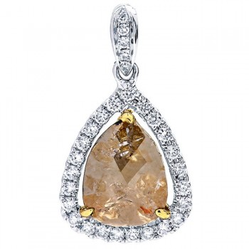 18K Two-tone Gold Fancy Diamond Slice Pendant