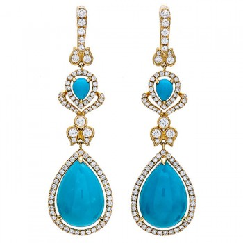 18K Yellow Gold Turquoise Earrings