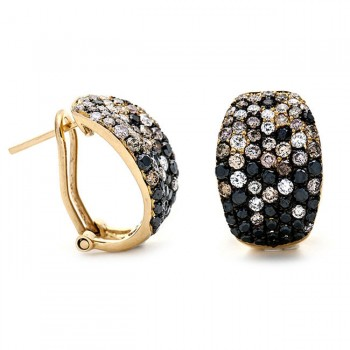 18K Yellow Gold Black Diamond Earrings