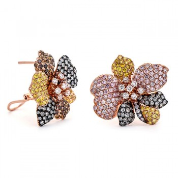 18K Tri-Color Gold Diamond Earrings