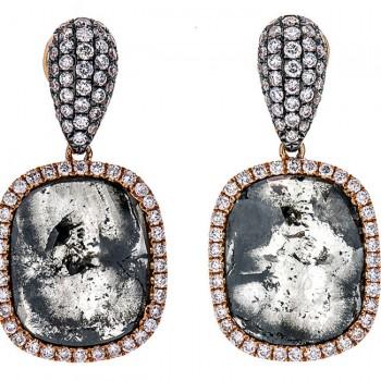 18K Rose Gold Fancy Diamond Slice Earrings