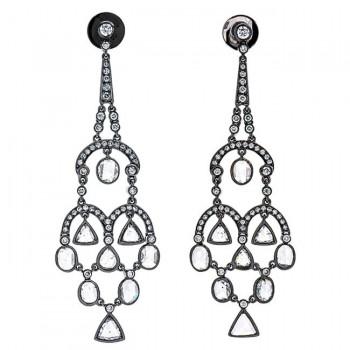 18K Black Rhodium Diamond Chandelier Earrings