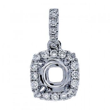 18K White Gold Pendant Semi-Mount for a 0.65ct Round Center