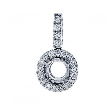 18K White Gold Pendant Semi-Mount for a Round Center